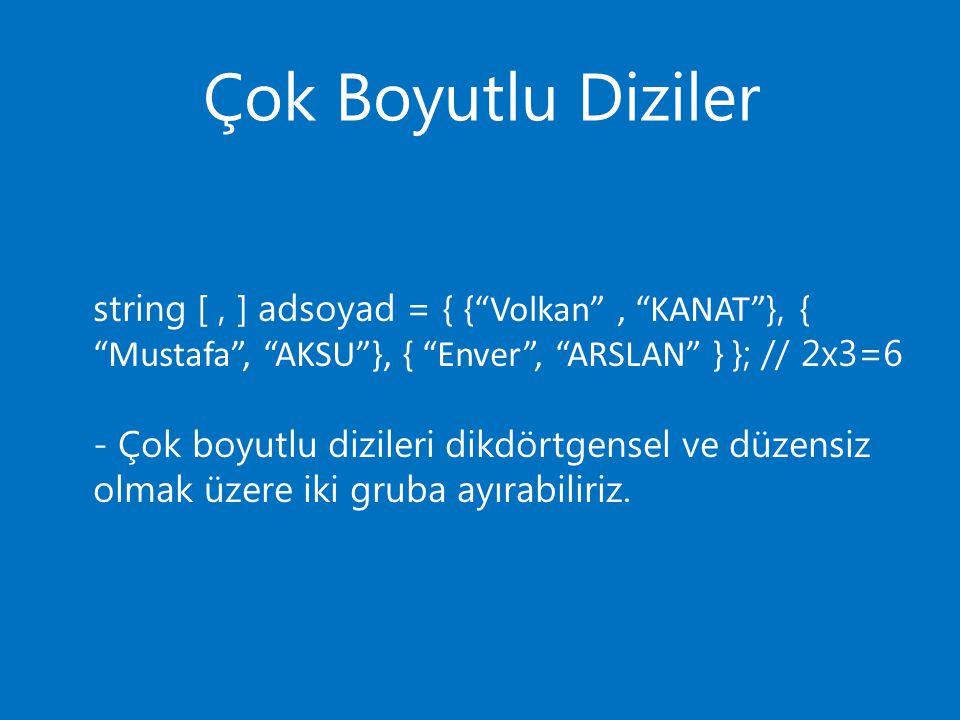 Çok Boyutlu Diziler string [ , ] adsoyad = { { Volkan , KANAT }, { Mustafa , AKSU }, { Enver , ARSLAN } }; // 2x3=6.